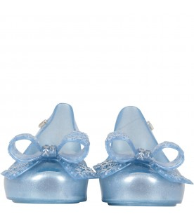 Light blue ballerina flats for girl with bow