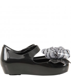 Black ballerina flats for girl with bow