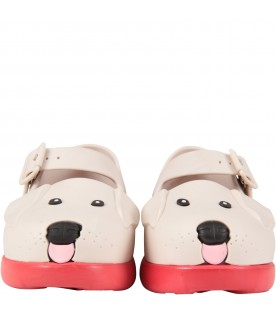 Beige ballerina flats for girl with dog