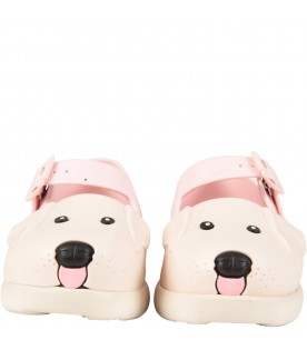 Multicolor ballerina flats for girl with dog