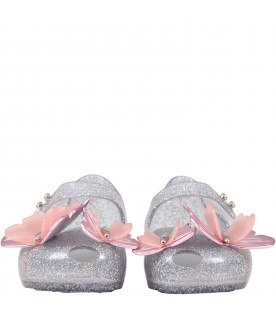 Light blue ballerina flats for girl with butterflies