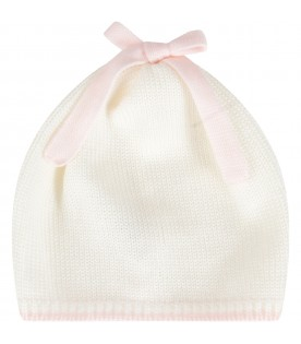 Multicolor hat for baby girl with bow