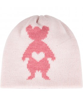 Pink hat for baby girl with pink peony bear