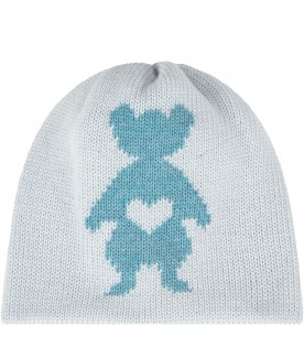 Light blue hat for baby girl with pink peony bear