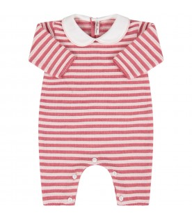 Pink babygrow for babygirl with stripes