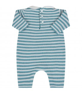 Light blue babygrow for babyboy with stripes