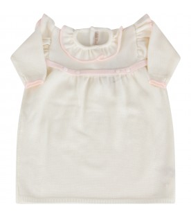 Ivory dress for baby girl with belt