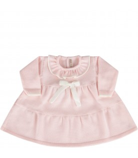 Pink dress for babygirl with bow