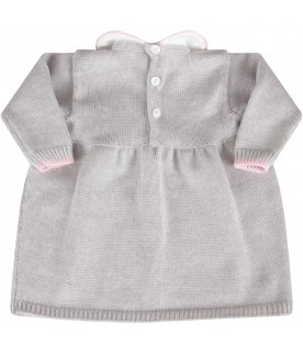 Grey dress for baby girl with bow
