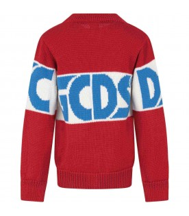 Red sweater for boy with light blue logo