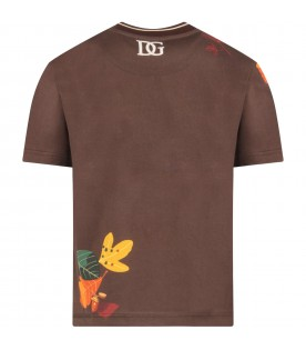 Brown T-shirt for boy with owl