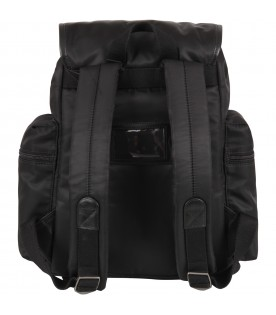 Black backpack for kids with logo