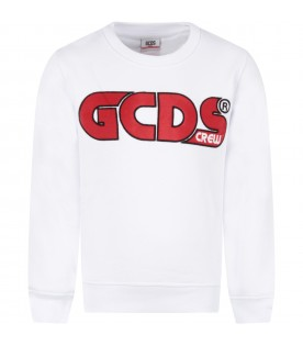 White sweatshirt for kids with logo