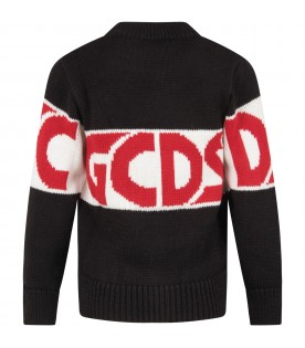 Black sweater for kids with red logo