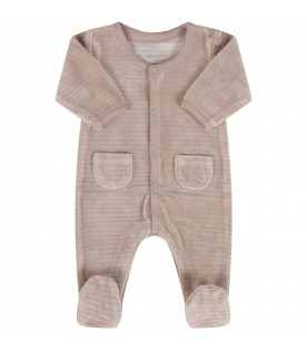 Beige babygrow for babykids with stripes