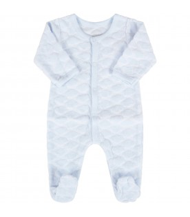 Light blue babygrow for baby boy with clouds