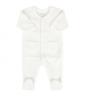 White babygrow for babykids with stripes