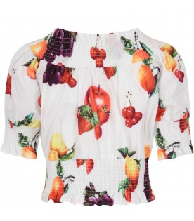 White top for girl with fruits