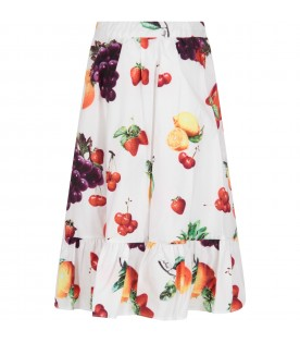 White skirt for girl with fruits