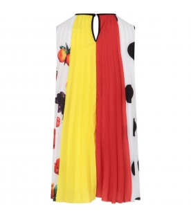 Multicolor dress for girl with fruits and polka dots