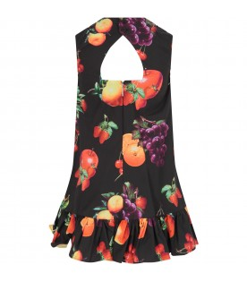 Black dress for girl with fruits