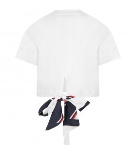 White T-shirt for girl with yet