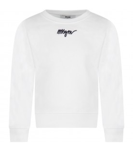 White sweatshirt for girl with blue logo