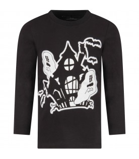 Black T-shirt for kids with ghosts