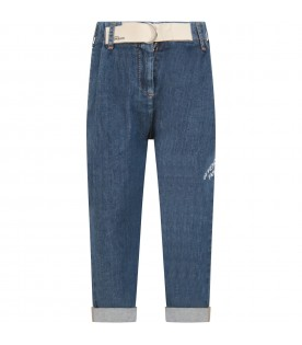 Light blue jeans for girl with logo