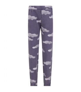 Light blue sweatpants for kids with clouds