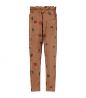 Brown pants for boy with prints