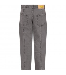 Grey jeans for kids with logo