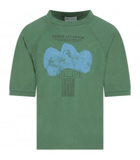 Green T-shirt for boy with cloud