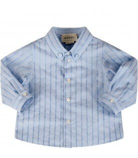 Light blue shirt for babyboy with logos