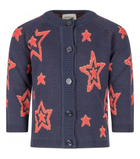 Blue cardigan for girl with stars