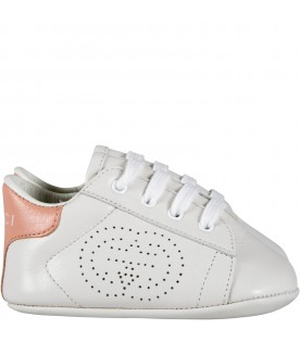 White sneakers for babygirl with logo