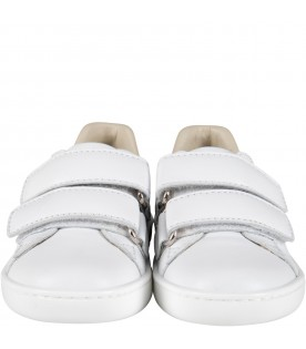 White sneakers for kids with double GG
