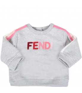 Grey sweatshirt for babygirl with multicolor logo