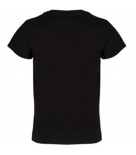 Black T-shirt for girl with multicolor logo