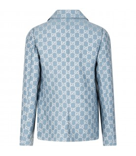 Light blue jacket for girl with iconic double GG