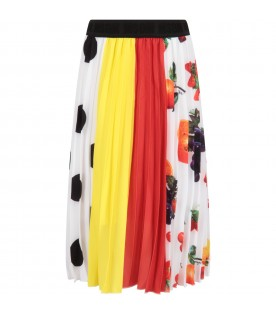 Multicolor skirt for girl with fruits and polka dots