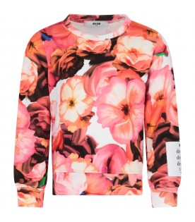 White sweatshirt for girl with colorful flowers