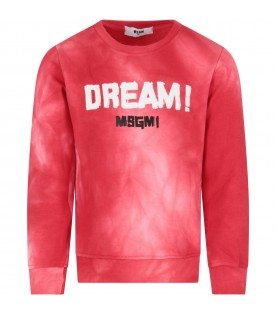 Red sweatshirt for girl with logo