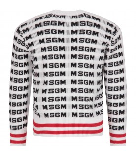 White sweater for boy with black logos