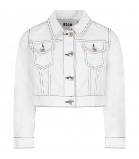 White jacket for girl with logo