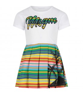 White dress for girl with colorful logo