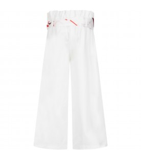White pant for girl with logo