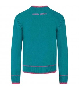 Light blue sweater for girl with writing