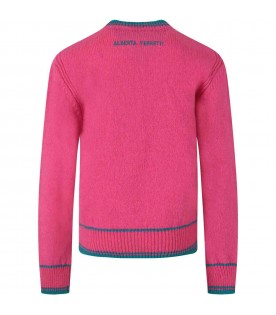 Fuchsia sweater for girl with writing