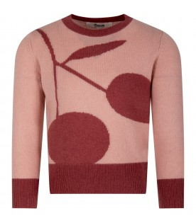 Pink sweater for girl with cherry